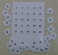 Ziehungskärtchen für Lostrommel: Nummerierung 1151-1175
