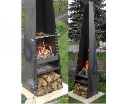 feuerstelle kamin grill mit edelstahlrost 146. Black Bedroom Furniture Sets. Home Design Ideas